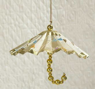 Kurt Adler Asian Fusion Ivory & Gold Floral Parasol Umbrella Christmas Ornament 4'