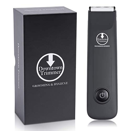 Downtown Trimmer, Electric Groin Hair Trimmer, Pubic Hair & Body Trimmer for Men, Replaceable Ceramic Blade Heads, Rechargeable, 100% Waterproof, Elite Male Hygiene Machine