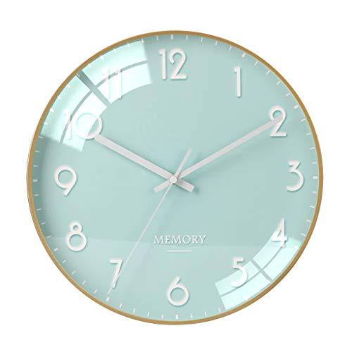 Everyday home 12 pouces moderne élégant élégant silencieux non-coutil en métal horloge murale ronde, simple créatif horloge murale salon chambres bureau cuisines (Couleur : O, taille : 30cm)