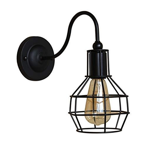 LHYLHY Luz de Pared LED Lámpara de Pared Industrial Lámpara de Pared Negro E27 Iron Pantalla de Hierro Jaula Guard Sconce Indoor Iluminación de Accesorios Bedroom (Lampshade Color : E)