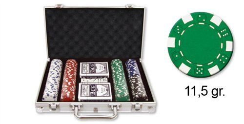 Dakota - Valigetta per Poker, con Dadi, 2 Deck di Carte e 300 gettoni (11,5 g) 28347DK