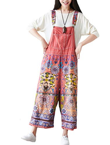 Mallimoda Damen Weite Bein Latzhose Jumpsuits Denim Overalls Printed Baggy Hosen Art 5-Rot