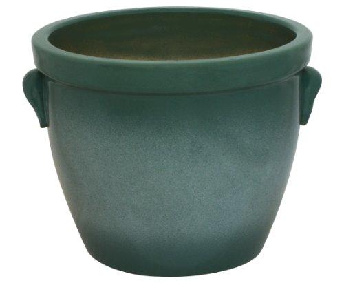 K&K Venus II Pot de fleurs en céramique avec poignée Vert 22 x 18 cm