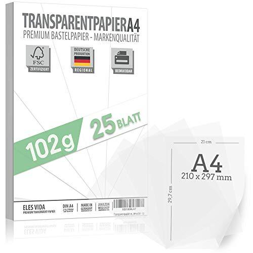 150 Blatt Transparent Papier 102 g/m² A4 in 29,7 x 42 cm – Transparentpapier, Durchsichtiges Papier - Tranzparentes Papier, Millimeterpapier für Tintenstrahl & Laserdrucker zum Basteln für Geschenke