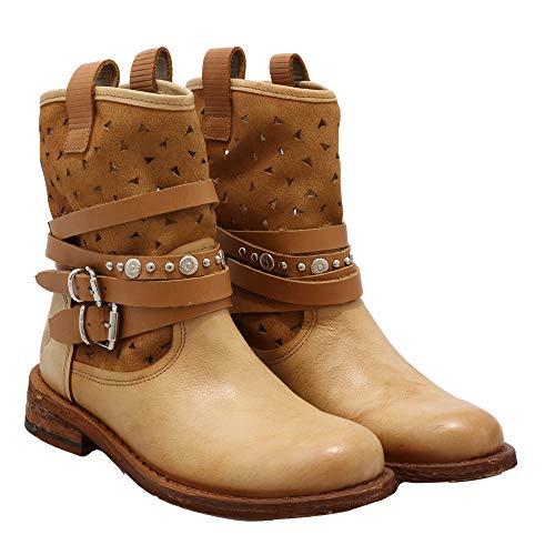 Felmini - Scarpe Donna - Innamorarsi Com GREDO C401 - Stivali Cowboy & Biker - in Pelle Genuina - Marron - 37 EU Size