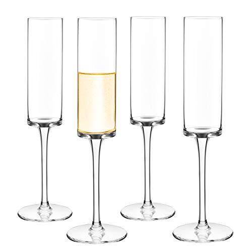 Champagne Flutes set of 4 Crystal Champagne Glasses Hand Blown 100%Lead...
