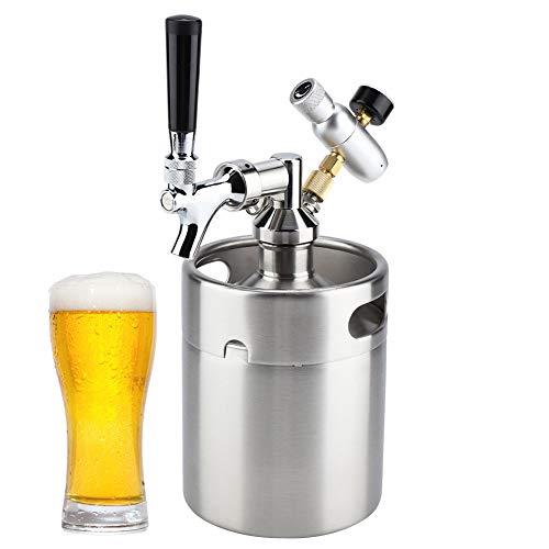 Barriles de Cerveza de Acero Inoxidable,Mini Kit Dispensador de Cerveza 2L con Grifo,Barril de Vino de Barril de Cerveza Growlers para Cerveza,Vino,Growler de Acero Inoxidable para El Hogar/Bar