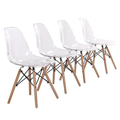 H.J WeDoo 4er Set Wohnzimmerstuhl Esszimmerstuhl Bürostuhl Kunststoff Massivholz Chair Transparenter