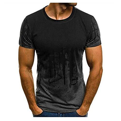QAZW Camiseta Manga Corta Hombre,Sportswear Camiseta para Hombre, Estampada en 3D Camisetas,Gray-Small