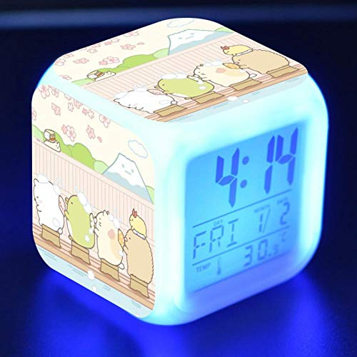 Kawaii Sumikkogurashi Anime Figure LED Alarm Clock Colorful Flash Touch Desk Light Flash Toys for Kids N36