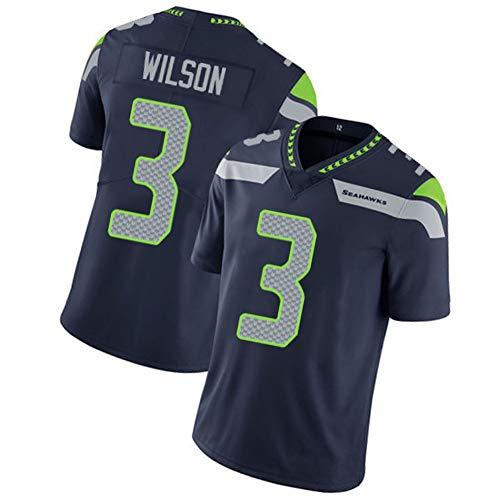 Männer Rugby Trikot Fußball Trikot Polo Shirt-3# Russell Wilson Seattle Seahawks Fullback Athlet Trikot Unisex Training Shirts Mesh Schnell trocknend Fans Sweatshirt-Blue-XXXL