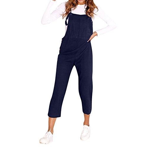 Kaister Damen Overall Jeans Spaghetti Bügel Breite Beine Hosen Clubwear Strampler Hosen