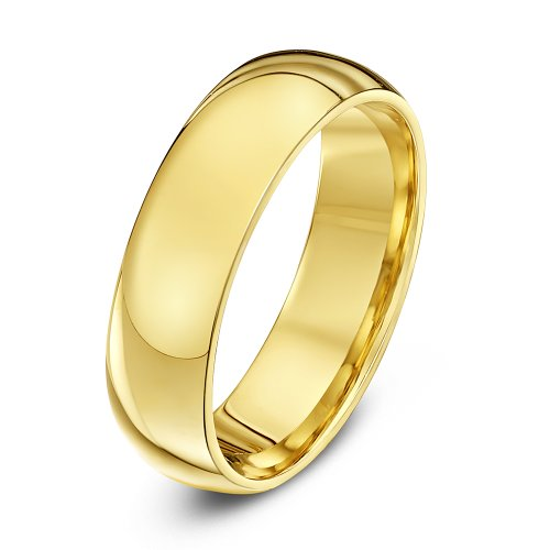 Theia Unisex Super Heavy Court Shape Polished 18 ct Yellow Gold 6 mm Wedding Ring - Size X