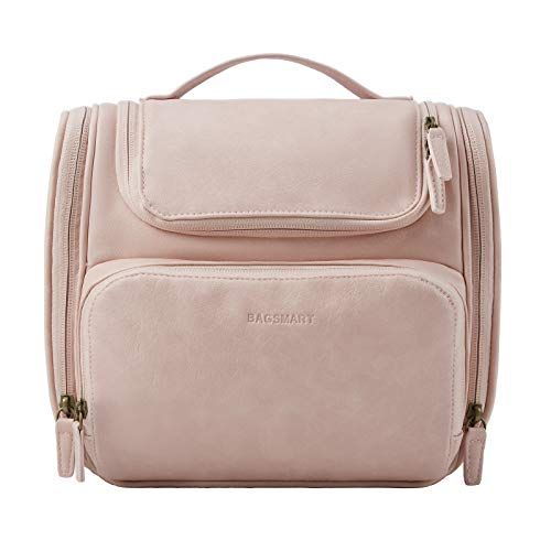 Toiletry Bag, BAGSMART Travel Leather Dopp Kit for Women with Hanging Hook, Water-resistant Large Travel Organizer Kit for Toiletries, Full Sized Container, Make Up Accessories (Pink)