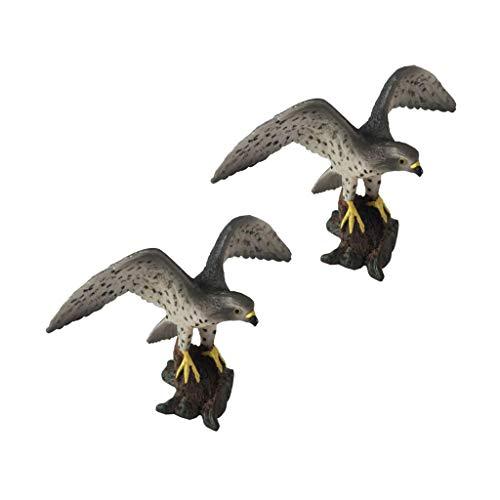 Homyl 2pcs Modèles d'animaux Faucon Figurines Oiseaux Sculptures Ornement Décoration