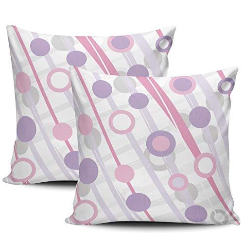Fashion Pink and Purple Circles Fundas De Almohada Transpirables Fundas Cojín Moda Funda De Almohada para Cojín para Cama Cámping Sofá Juego De 2, 40x40 cm