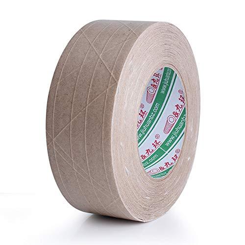 Klebeband mit flacher Rückseite, glasfaserverstärktes Klebeband, Kraftpapier, Verpackungsklebeband, 6 cm x 50 m. (Kraftpapier)