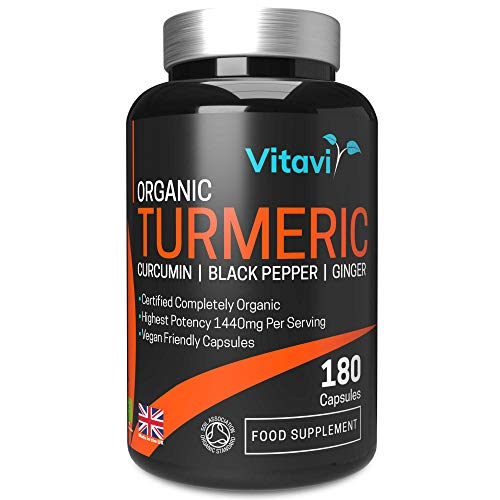 Vitavi Organic Turmeric Capsules with Black Pepper Curcumin and Ginger 1440mg - 180 Premium High Strength Certified Completely Organic Turmeric Capsules - Vegan Approved - Made in The UK
