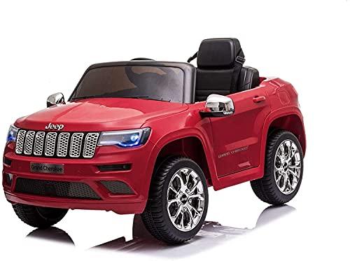 Mondial Toys Auto Macchina Elettrica per Bambini 12V JEEP GRAND CHEROKEE con Sedile in Pelle Telecomando 2.4G Porte Apribili Rosso
