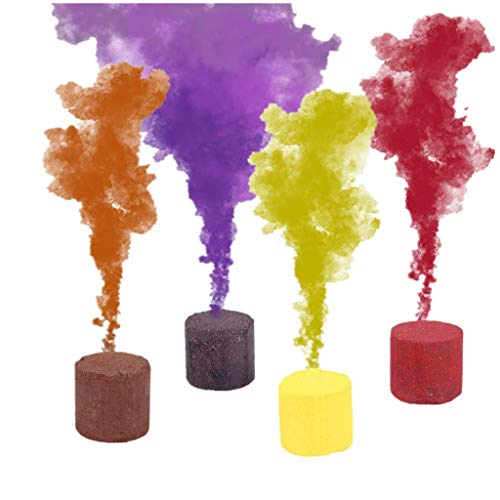 4Pcs Colored Smoke Cake Bomb Colorful Smoke Effect for Color Run Halloween Party Supplies Christmas Props Stage Show Studio Photo Props Photography Backdrop Magic Fog
