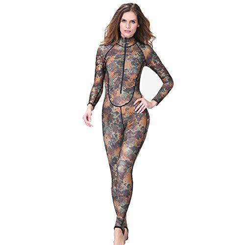Traje de Neopreno para Mujer, Camuflaje Invierno Trajes de Buceo de Surf Completo Una Pieza Protección UV Wetsuit con Cremallera Frontal,Camouflage-XL