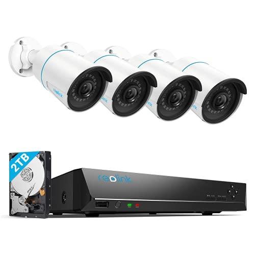 Reolink 5MP 8CH Kit de Cámara de Vigilancia PoE, Detección de Personas/Vehículos Inteligente, con 4X 5MP Cámaras IP PoE Exterior y 4K 2TB HDD NVR, IP66 Impermeable Vision Nocturna Audio, RLK8-510B4-A