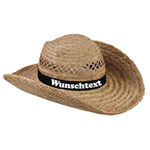 CrazyShirt Strohhut mit Wunschaufdruck auf Hutband (schwarz)
