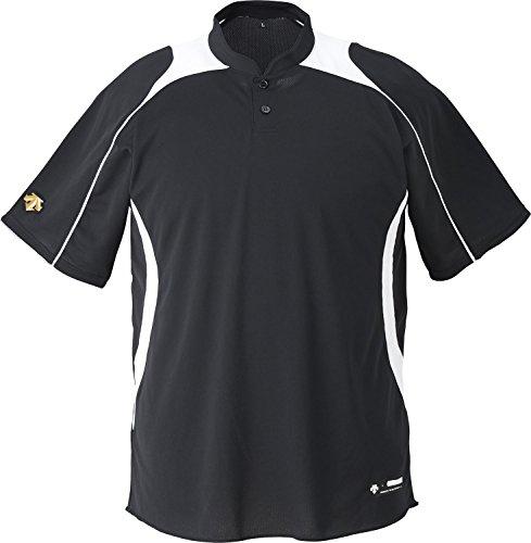 DESCENTE(デサント) 野球 ジュニア 立衿2ボタンベースボールシャツ ブラック×ホワイト 130cm JDB110B