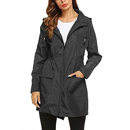 AILIEE Chaquetas de lluvia para mujer, ligeras, con cremallera, manga larga, impermeables, resistentes al viento, cintura elástica, tallas S-2XL