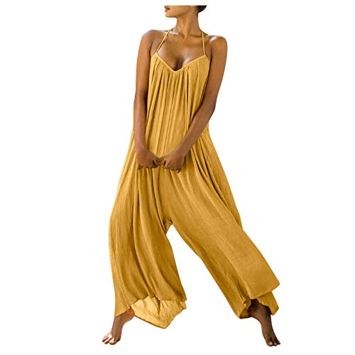 Handyulong Women's Loose Sleeveless Jumpsuits Spaghetti Strap Linen Long Pants Romper Jumpsuit Casual Overall Playsuits