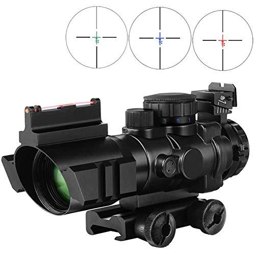TcooLPE Lunette de visée pour Carabine de Chasse 4x32 mm Viseur de Point Rouge Vert et Bleu, Lunette de visée Tactique à Fibre Optique réelle pour Le tir