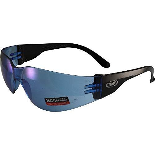 Global Vision Rider Z87.1 - Gafas de sol de seguridad para motocicleta, montura negra, lentes azules