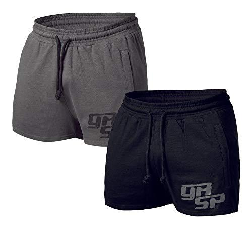 GASP Pro Short - Kurze Baumwoll-Hose, Trainings Shorts, Shorts, Freizeit Shorts, Farbe:grau, Größe:XL