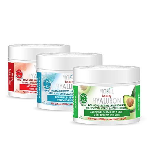 Victoria Beauty - Hyaluron Creme Set, Anti Aging Cremes gegen Falten und Augenringe, straffende Gesichtscremes mit Hyaluronsäure (3 x 50 ml)
