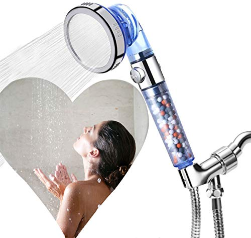 High-Pressure Filter Handheld Shower Set with Pause Button & Replacement Hose and Bracket, Switch 3 Spray Modes with One Click Good for Dry Hair and Skin, the Best Shower Experience for You