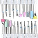 MZSM Punte Fresa Unghie,20 Pcs Spazzola per Polveri per la Pulizia Delle Cuticole,Teste di Levigatura Rotative per Lucidatura di Rettifica Teste Nail Salon Tools