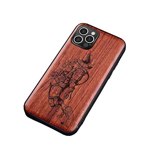pengge Wooden iPhone 12 Mini Phone Case, Be Different Unique Classy Natural Wooden Case Best Gift for iPhone Fans (for iPhone 12 Mini), Spaceman