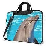 Bolsa de hombro para portátil – Dragon Cool Blue estampado a prueba de golpes impermeable para portátil, Divertido delfín (Morado) - 259841