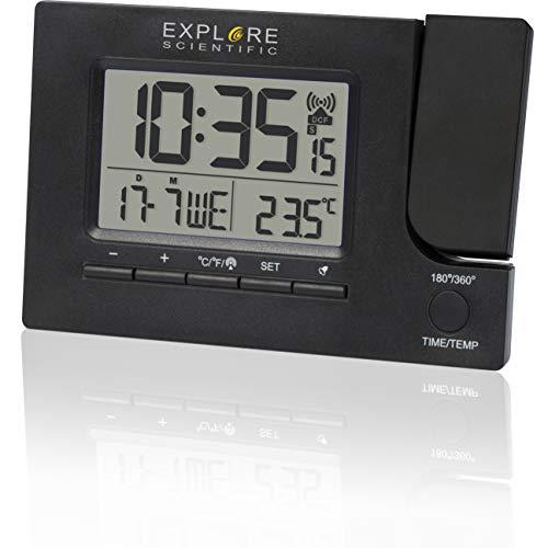 EXPLORE SCIENTIFIC Orologio radiocontrollato con proiezione dell'ora, design moderno RDP1003, Doppio allarme con funzione snooze. nero