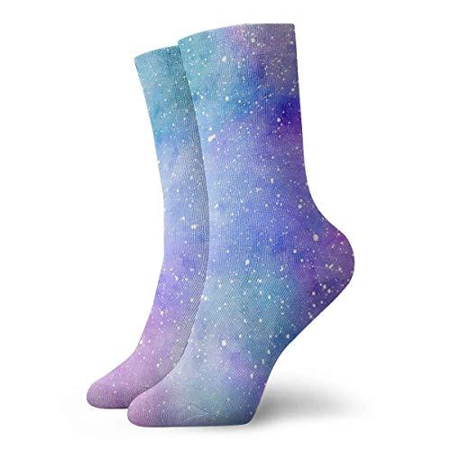 FETEAM Calcetines deportivos cortos con estampado de galaxia morado Calcetines de vestir Calcetines deportivos