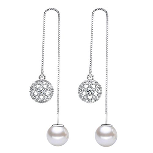 Wiftly Women's and Girls' Earrings Silver 925 with Cubic Zirconia Lotus Flowers Pearl Pendant Glitter Long Ear Line Fashion Jewellery Gifts for Christmas Birthday Hypoallergenic