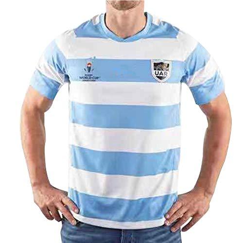 Herren Rugby-Trikot, Argentinien WM 2019 Heim-Rugby-Polo-Shirt Training T-Shirt, Unterstützer Fußball Sport Top, Bestes Geburtstagsgeschenk-XL