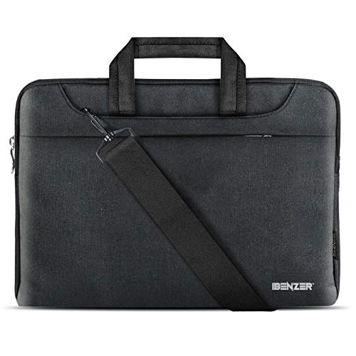 iBenzer 13.3 14 inch Laptop Computer Sleeve Carrying Case Shoulder Strap Bag for MacBook Air/Pro 13 Chromebook Ultrabook Notebook Surface Book HP Dell Lenovo Yoga Acer Asus Apple , Black LS-SLD13-BK