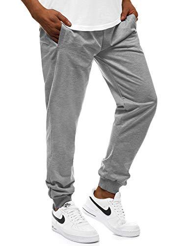 OZONEE Herren Jogginghose Hose Trainingshose Sporthose Freizeithose Unifarbe Herrenhose Sweatpants Fitnesshose Sweathose Fußballhose Jogpants Joggpants 777/7352S GRAU XL
