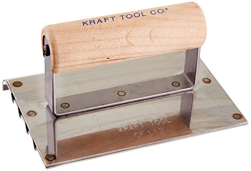 Kraft Tool CF112 Safety Step Edger-Groover with Wood Handle, 6 x 4-1/2-Inch