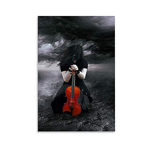 HFHS Schwarz-weiße Kunst Traurige Liebe Violine Schönheit Leinwand-Kunstposter und Wandkunstdruck, modernes Familienschlafzimmerdekor-Poster, 20 x 30 cm