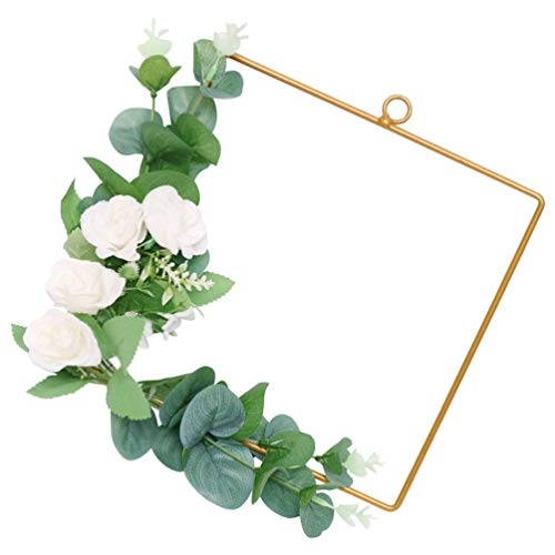 KESYOO White Flower Wreath Artificial Flower and Eucalyptus Vine Wreath Square Frame Wreath Garland Nordic Style Hanging Wreath for Wedding Home Party Backdrop Wall Decor 23x6cm