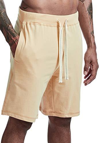 Arloesi Men's Casual Cotton Sweat Athletic Jogger Shorts Khaki