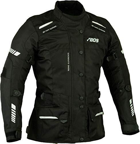 BOS Motorradjacke Damen Mit Protektoren Textil Wasserdicht Winddicht Schwarz (2XL)