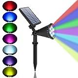 Eofiti Foco Solar Jardín, Impermeable IP65 Luces Solares Exterior, 8 Color Cambio, 2 Modos de Iluminación, ángulo de 180° Ajustable, Luz Solar de Entrada, Camino, Césped, Terraza (1 Unidades )